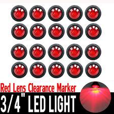 """20X 12V 3/4"""" Red LED Side Marker Indicator Lights Lamps Truck Trailer Caravan"""