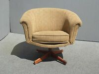 "Vintage Danish Modern Style Mid Century Modern Brown Swivel Arm Chair ""AS IS"""