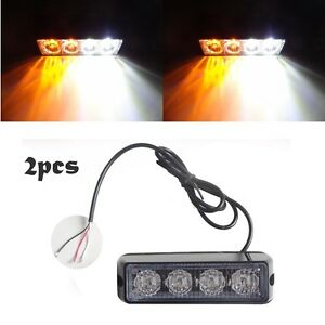 2X White&Amber 4 LED 4W Strobe Emergency Flash Warning Light Grille Hazard Lamp