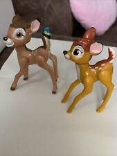 """2 Vintage Walt Disney - Bambi 3"""" Figures One With Blue Butterfly On Tail"""