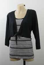 Plus Size  2XL 18 Ladies Black Top Tunic Stripe Casual Boho Chic Stretch Design
