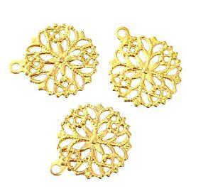 20 Bright Gold Bead Drop 13mm Filigree Snowflake Jewelry Making Craft Charms