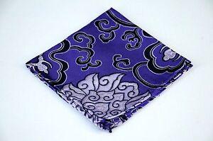 Lord R Colton Masterworks Pocket Square - Purple Black Madness Silk - $75 New