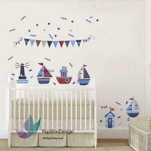 Sail Boat Star Flag Nursery Kids Baby Boy Playroom Bedroom Wall Decal Sticker