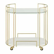 Gillian Bar Cart - Gold w Mirrored Top and Faux Marble Top