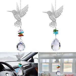 2x Crystal Pendant Hummingbird Ornament Suncatcher Home Garden Car Hanging Decor