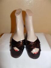 Taryn Ross Brown Leopard Print Slides Mules Sandals Shoe Size 37.5  6.5- 7 M