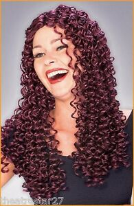 Burgundy Long Tight SPIRAL CURL WIG Rubie's Costumes #50967 Fairy Space Mystical