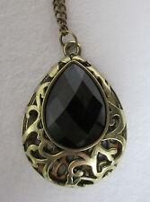 Bronze Tone Statement Necklace with Black Teardrop Stone- Steampunk Victorian