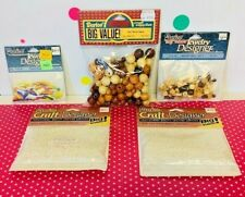 Vintage Darice Craft Beads LOT Wooden Beads, Pearls & Opaque Bugles NEW