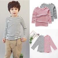 Baby Cute Girls Boys Kids Cotton Long Sleeve Stripe Tops T-shirt Crew Neck Tops