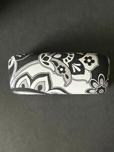 VERA BRADLEY Sunglass Eyeglass Hard Clam Shell Case - Black White Floral