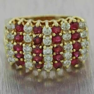 Vintage 2.2Ct Round Cut Ruby & Diamond 14k Yellow Gold Over Engagement Band Ring
