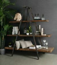 Industrial Tripod A Frame Timber Iron Bookcase Storage Bookshelf Display Shelf