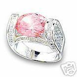 Antique Style Renaissance Pink CZ Cocktail Ring sz 9