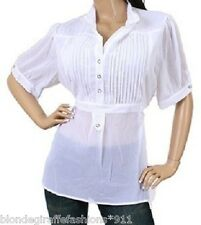 White Pleat Button Placket Short Sleeve Tunic Top M