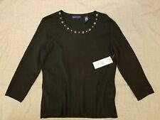 Karen Scott Knit Blouse Size Small Blue Long Sleeve Embellished Neckline