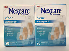 (2) Nexcare Clear Waterproof Bandages-20 Count Each-Assorted Sizes