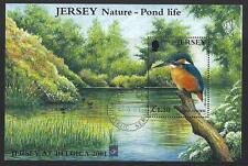 JERSEY 2001 POND LIFE  JERSEY AT BELGICA OVERPRINT MINIATURE SHEET FINE USED