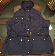 Ralph Lauren Womens Quilted Equestrian Belted Vest Sz XL New With Tags Navy Blue