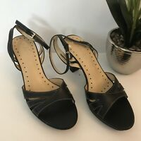 Rampage Womens Heels Sandals Size 9.5 M Black Ankle Strap Open Toe Buckle C63