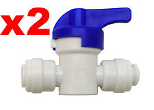 "Finerfilters 1/4"" PF Shut Off Valve Tap For Drinking Water, Reverse Osmosis (2)"