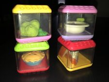 Lot Of 4 Fisher Price Peek A Boo Blocks For Intereactive Cube *Food*