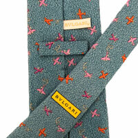 """Bvlgari Men's 100% Silk Sky Blue 7-Fold Airplanes Tie Made in Italy 3 7/8"""" Mint"""