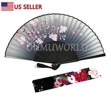 New Hand Fan Chinese Japanese Silk Elegant Modern Folding Fan Flower