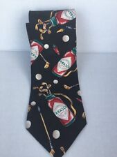 Tie By Tabasco Hot Sauce 100% Silk Black With Golf Clubs Red Peppers