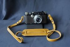 Italian Leather Camera Neck Shoulder Strap leica nikon contax canon etc Yellow