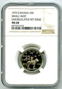 1873-1973 CANADA 25 CENT NGC MS68 SMALL BUST RCMP QUARTER RARE UNCIRCULATED