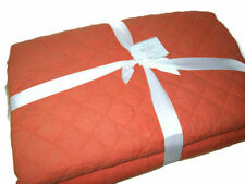 Pottery Barn Belgian Flax Linen Diamond Quilted Marmalade Orange King Quilt