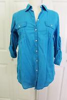 GAP Womens Turquoise Button Down Shirt Roll Tab Sleeve Shirt M NWT $49.50