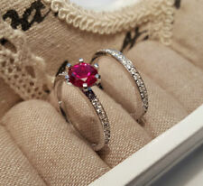 Lab-Created Engagement Ruby Sterling Silver Fine Rings