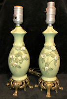 Vintage Pair of Green Porcelain Boudoir Table Lamps Brass Footed Applied Flowers