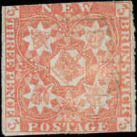 1851 Canada Used New Brunswick 3d Scott #1 Stamp
