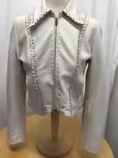 VERA PELLE Nature Project White Lined Leather Jacket Coat Sz 42 US Sz 6 MINT