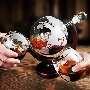 Whiskey Decanter Globe 850ML With Wood-Stand For Home Bar Tool Gift Accessory