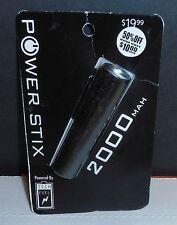 Power Stix 2000 MAH Portable Charger Power Bank, Black, BRAND NEW SEALED