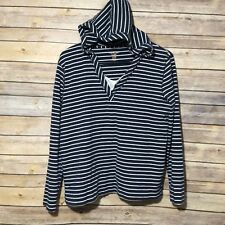 NORTHCREST Women's Hoodie Size Large 14-16 tunic blue pullover striped