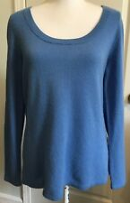 MADISON Womens CASHMERE Sweater Size L Scooped Neck BLUE Long Sleeve