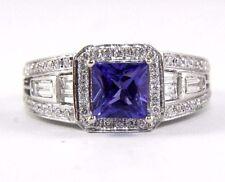 Natural Princess Cut Tanzanite & Diamond Solitaire Ring 14k White Gold 2.55Ct