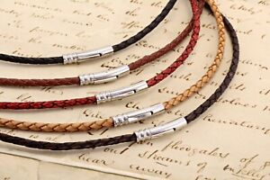 Mens Braided Leather Necklace With Stainless Steel Trigger Clasp-Colour Choice