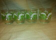 4 Vintage Libby Drinking Glasses 16oz Queen Annes Lace ,Green, White, By M Dia