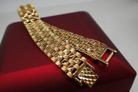 18ct 18K Yellow gold solid Diamond cut Watch band womens mens bracelet 8' 20cm