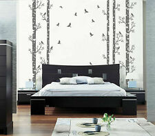 ik348 Wall Decal Sticker trees birds forest animals birch grove kitchen living