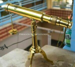 "Amtique 10"" Solid Brass Decorative Collectible Decor Telescope with Tripod Stand"