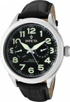 New Mens Invicta 11741 Vintage Black Dial Black Leather Watch