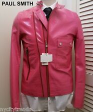 PAUL SMITH pink patent leather jacket asymmetrical hot neon nr cafe racer slim S